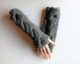 Fingerless Gloves Steampunk Gloves Goth Gloves Wrist  Warmers Hand Warmers Gray Gloves Knit Gloves Steampunk Clothing Boho Gloves