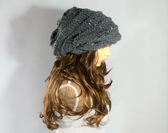 Gray Knit Hat, Grey Hat,  Cable Knit Beanie, Chunky Beanie, Slouchy Wool Beanie, Tam Hat, Oversized Hat. Knit Slouchy Hat, Grey Knit Hat