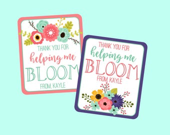 Personalized Thank You For Helping Me Bloom Tags. Teacher Appreciation, Teachers Gifts, Thank You Gift. Digital Tags. Flower