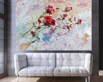 Flying Scarlet Roses Red Peonies Custom ArtWork Print on Canvas Original Painting Giclee Large Painting Big Poster Art Living Room Decor