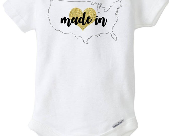 Made in America, Born in America Baby Girl Onesies®with Glitter Gold Heart, Born in USA, Made in USA, Baby Shower Gift, Going Home Outfit