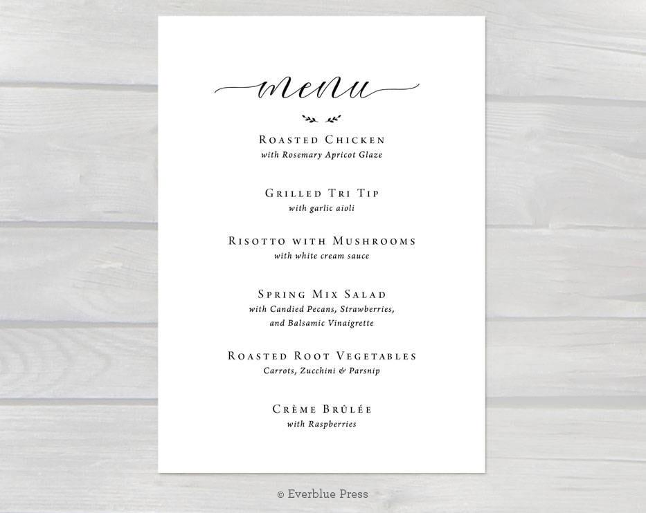 CUSTOM Digital Wedding Menu | Simple Black Calligraphy | Table ...