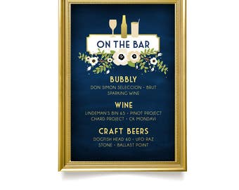 The ALYSSA . Bar Drink Menu Sign . Navy & Gold Wedding Chalkboard White Cream Magnolia Anemone Poppy Garland Green Leaf . Large Printed Sign