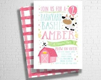 Farm Birthday Invitation | Barnyard Birthday Invitation| Pink Farm Animal Birthday Invite | Girl's Birthday Invitation| DIGITAL FILE ONLY