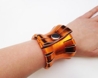 leather bracelet - orange metallic leather bracelet - extravagant leather bracelet - statement jewelry