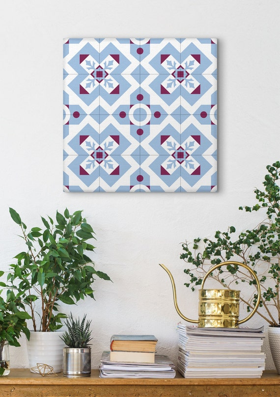 Blue And Purple Canvas Art, Geometric Pattern, Ceramic Tile Design, Barcelona Decor, Wall Decoration, Modernist Decor