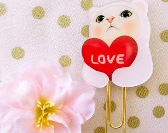 Sweet Kawaii Kitty Love - Planner Clips