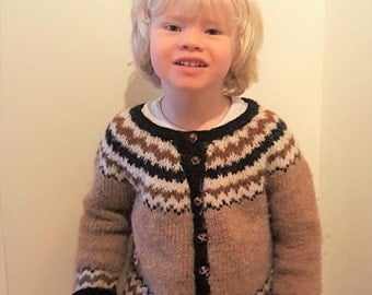 Boys hand knitted sweater -100% Icelandic wool