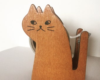Cat Tape Dispenser, Wooden Kitty Tape Holder, Masking Tape Dispenser, Washi Tape Dispenser, Stationery Supplies, Crazy Cat Lady Gift