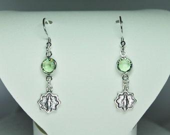 Sterling Silver Miraculous Mary Medal & Peridot Swarovski Crystal Earrings