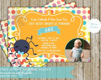Itsy Bitsy Spider Birthday Invitation for Boy 1st Birthday First Birthday Invites Digital Printable