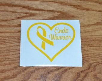 Endo Warrior Endometriosis awareness ribbon vinyl decal Endo Survivor
