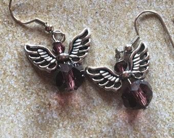 Angel Earrings, Glass Earrings, Glass Angel Earrings, For Her, Jewelry, Girls Jewelry, Girls Earrings