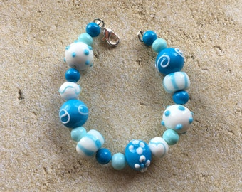 White and Blue Glass Lampwork Bracelet, Lampwork Bracelet, Beaded Bracelet, Beadwork Bracelet, Gift For Her