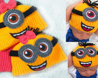 Crochet minion hat baby earflap hat crochet baby beanie boy newborn hat baby photo outfit coming home hospital outfit baby minion hat boy