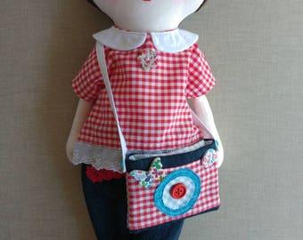 Sophie, rag doll, cloth doll, fabric doll, hand made doll, home made doll, OOAK rag doll, OOAK hand made doll, OOAK cloth doll, art doll