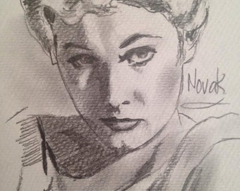 Pencil drawing of Hollywood Movie Star Kim Novak