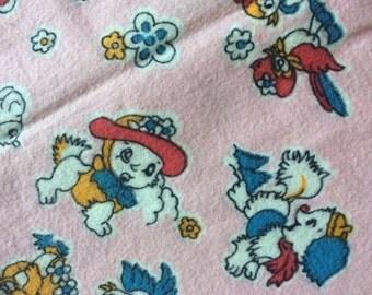 Vintage 1950's Novelty Print Fabric. Bird, dog, Rabbit, puppy