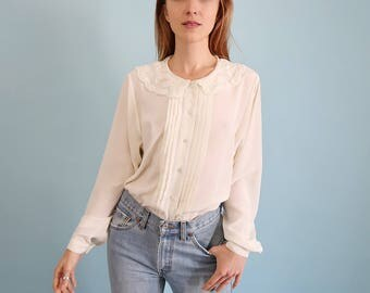 Lovely Ivory White Oversized Blouse with Scalloped Lace Bib Collar