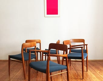 6 set chairs Niels Møller Möller 56 75 teak design mid century modern Chair