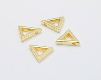 14mm 24k Gold Plated Triangle Pendant, Triangle Charms, Triangle Necklace , Gold Plated Findings, MTE41