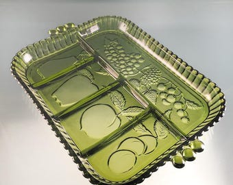 Indiana Green Glass Divided Serving Tray