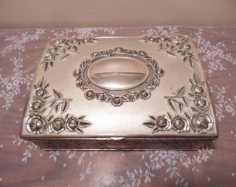 Vintage Godinger Silver Jewelry Box Floral Design Hollywood Regency Design Retro Vanity Chest Treasures Victorian Style