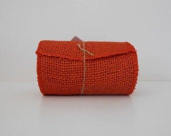"Orange BURLAP JUTE Mesh Ribbon Roll, 5.5"" x 15' ,  5 yds of 100% Jute Orange Jute Burlap Roll"