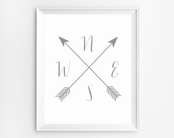 Compass printable, Compass Print, Cardinal Directions Art, Wall Art Prints, Arrow Compass, NWES Prints, Arrow artwork, Compass Wall Art