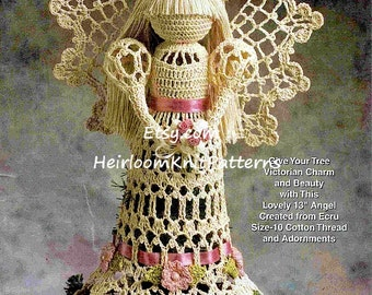 Victorian Christmas Tree Topper Lacy Angel Crochet Pattern Tree Top Angel Christmas Angel Tree Trims Angels Crochet PDF Pattern - 1072