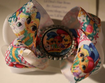Shimmer and Shine Hair Bow, Shimmer Hair Bow, Shine Hair Bow, Shimmer and Shine Bow, Genie Hair Bow, Genie Bow