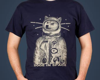 Doge in Space - funny & cute Men's Shiba Inu t-shirt, screen printed by hand