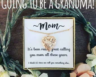 Surprise! You're going to be a grandma! Silver Locket Necklace with Message! Free gift wrap! Pregnancy announcement!