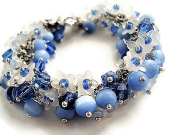 Flower Bracelet Blue Jewelry Charm Bracelet Statement Jewelry Blue Bracelet Floral Jewelry Silver Bracelet Everyday Jewelry Boho Bracelet