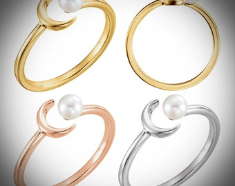 14K Gold Crescent Moon and 4MM Pearl Sun Ring, Available in Yellow, White or Rose Gold USA SZ 7