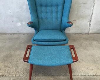 Rare Vintage Danish Hans Wegner Papa Bear Chair & Ottoman (GQUQPS)