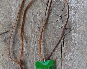 Vintage Jewelry Enamel Necklace; Grass Green Enamel Metal Pendant Necklace; Square Green Pendant with Leather string; Enamel Metal Jewelry