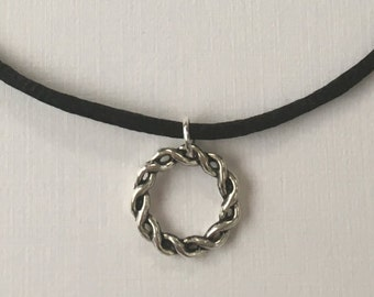 Knotted Circle choker necklace on black cord Circular Charm Necklace