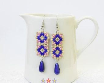 Blue Long Earrings, Jewelry Fashion Earrings, Flower Earrings, Pink Earrings, Pink Flower Earrings, Wedding Earrings, Tile Earrings, Gifts