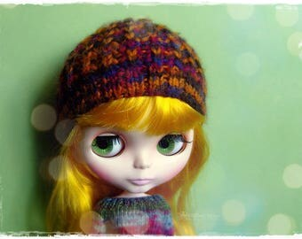 BLYTHE, Pullip, SD, SD+ Hat - Knitted Multicolor Hat #75
