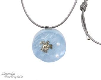 OOAK, Summer Necklace, Piece of Ocean, Pendant with Turtle, Handmade, Summer Gift, Summer Jewelry, Resin
