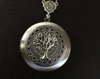 Silver tree of life locket necklace, family tree photo locket, keepsake necklace