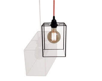 Industrial Pendant Lightshade - Minimalist - 15cm x 15cm x 21cm - Edison Bulb - Modern - Retro - Contemporary Lamp Shade - Ceiling Light