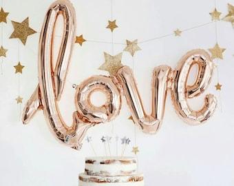 Rose Gold 'Love' Script Balloon