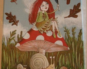 Autumn Fairy, Original acrylic painting  (Size: 21 x 27cm)