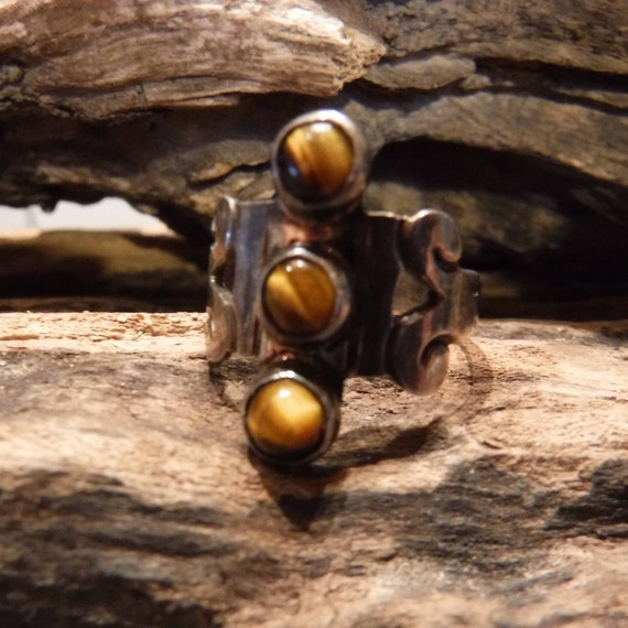 Sterling Mexico Eagle 3 Tigers Eye Ring Signed GPF Modernist Ring 4.4 Grams Size 7 Stamped Vintage Sterling Ring Mexican Silver Vintage Ring