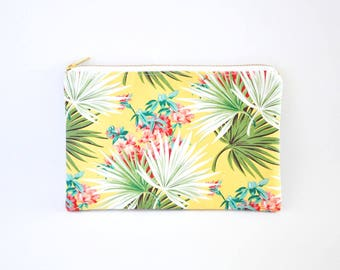 Clutch Bag, Clutch Purse, Zipper Clutch, Clutch Wallet - Yellow Floral Palm Leaf