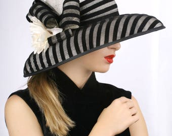 Statement derby hat, wide brim hat, Summer sun hat, Kentucky derby hat, Wedding Party hat, Royal Ascot hat, derby hat, cream black hat