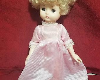 "Vintage Effenbee 8"" Baby doll Pink Dress"