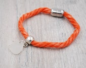 Orange Lobster Trap Rope Bracelet with White Maine Sea Glass